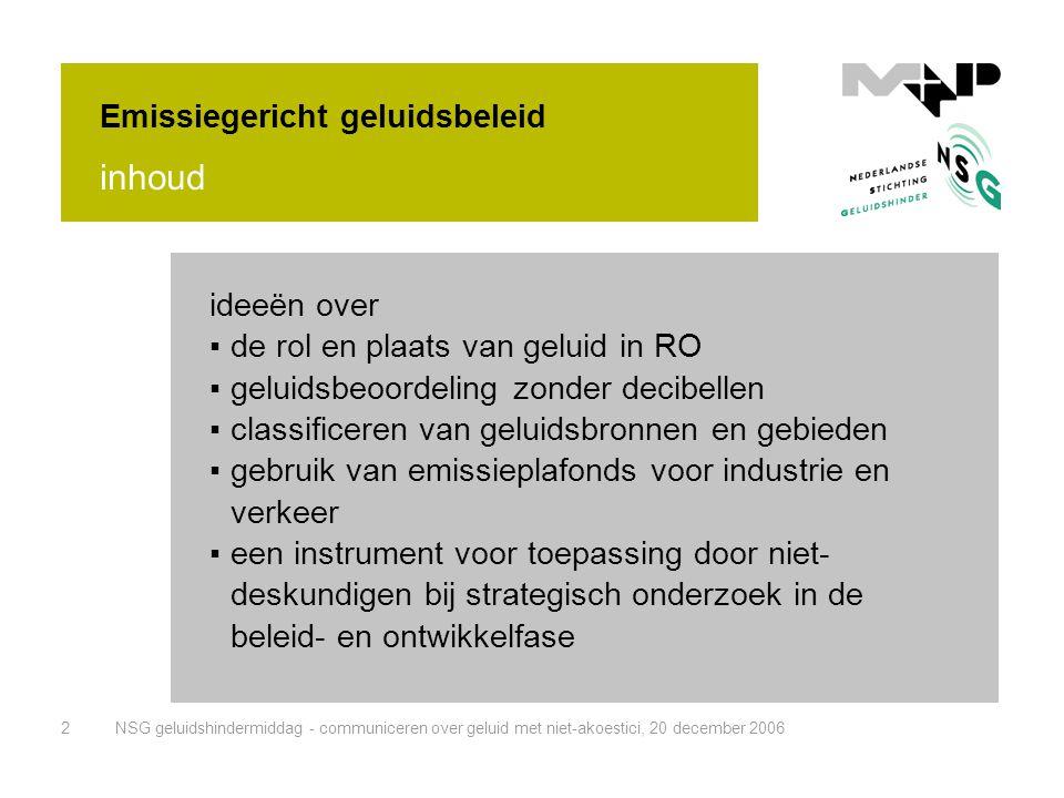 NSG geluidshindermiddag - communiceren over geluid met niet-akoestici, 20 december 20063 Gemeente • afd.