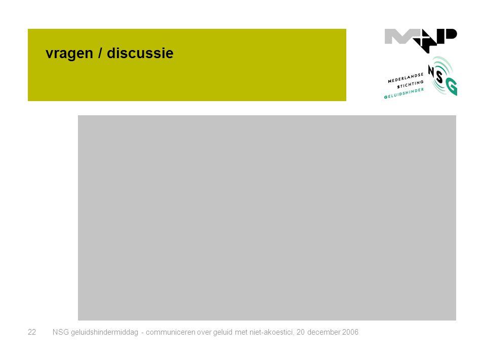 NSG geluidshindermiddag - communiceren over geluid met niet-akoestici, 20 december 200622 vragen / discussie