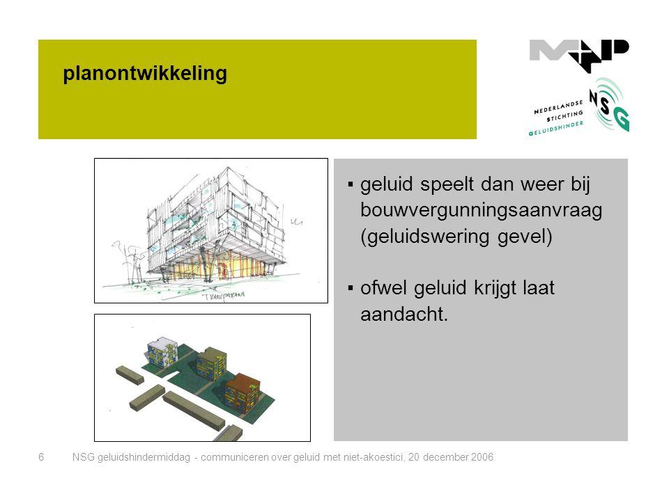 NSG geluidshindermiddag - communiceren over geluid met niet-akoestici, 20 december 20066 planontwikkeling ▪geluid speelt dan weer bij bouwvergunningsa