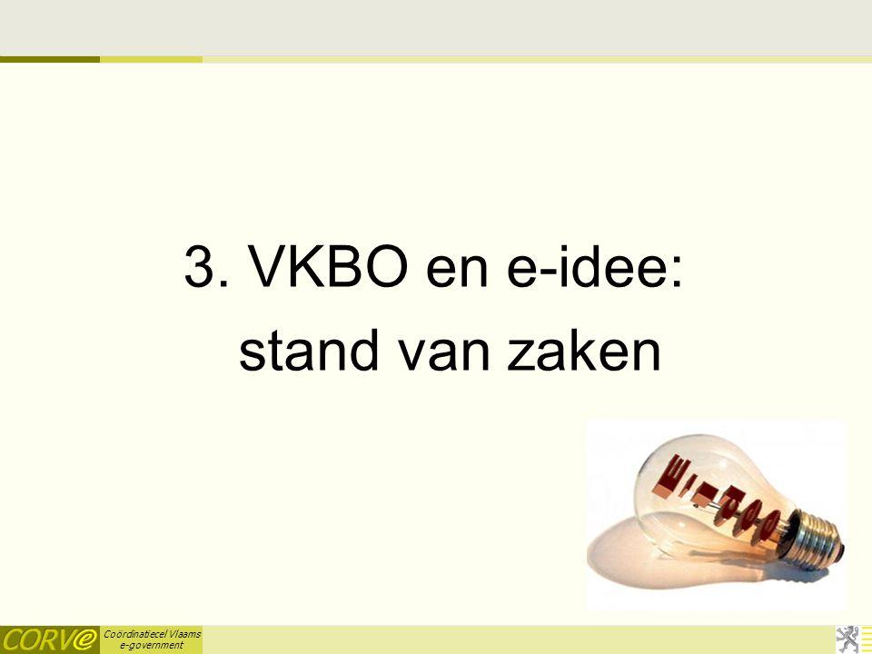 Coördinatiecel Vlaams e-government 3. VKBO en e-idee: stand van zaken