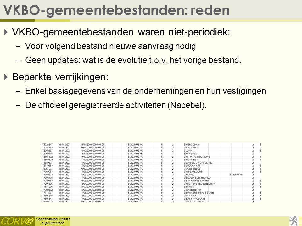 Coördinatiecel Vlaams e-government VKBO-gemeentebestanden: reden  VKBO-gemeentebestanden waren niet-periodiek: –Voor volgend bestand nieuwe aanvraag nodig –Geen updates: wat is de evolutie t.o.v.