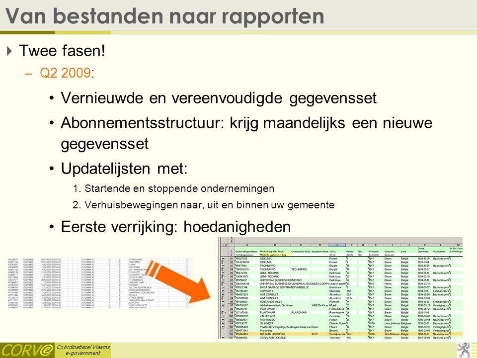Coördinatiecel Vlaams e-government Van bestanden naar rapporten  Twee fasen.