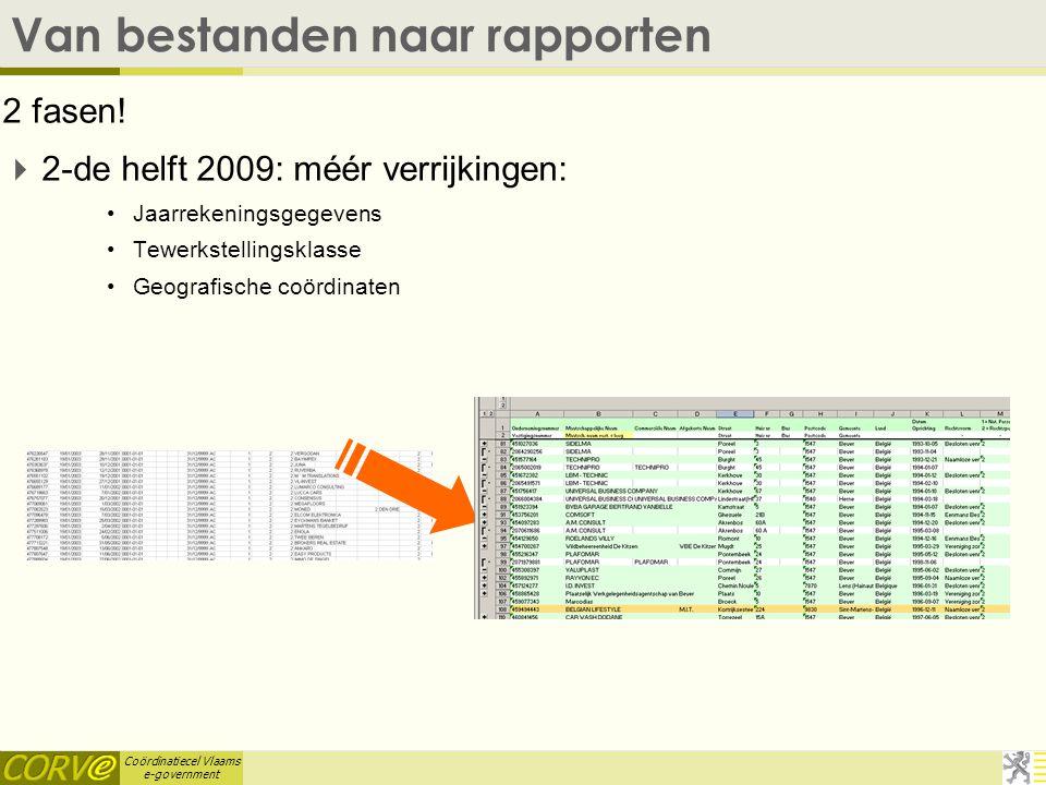 Coördinatiecel Vlaams e-government Van bestanden naar rapporten 2 fasen.