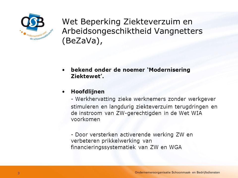 Wet Beperking Ziekteverzuim en Arbeidsongeschiktheid Vangnetters (BeZaVa), •bekend onder de noemer 'Modernisering Ziektewet'. •Hoofdlijnen - Werkherva