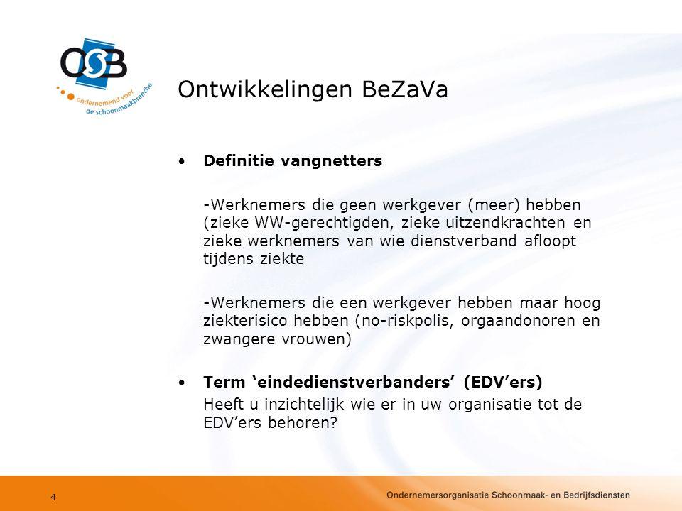 Ontwikkelingen BeZaVa •Definitie vangnetters -Werknemers die geen werkgever (meer) hebben (zieke WW-gerechtigden, zieke uitzendkrachten en zieke werkn