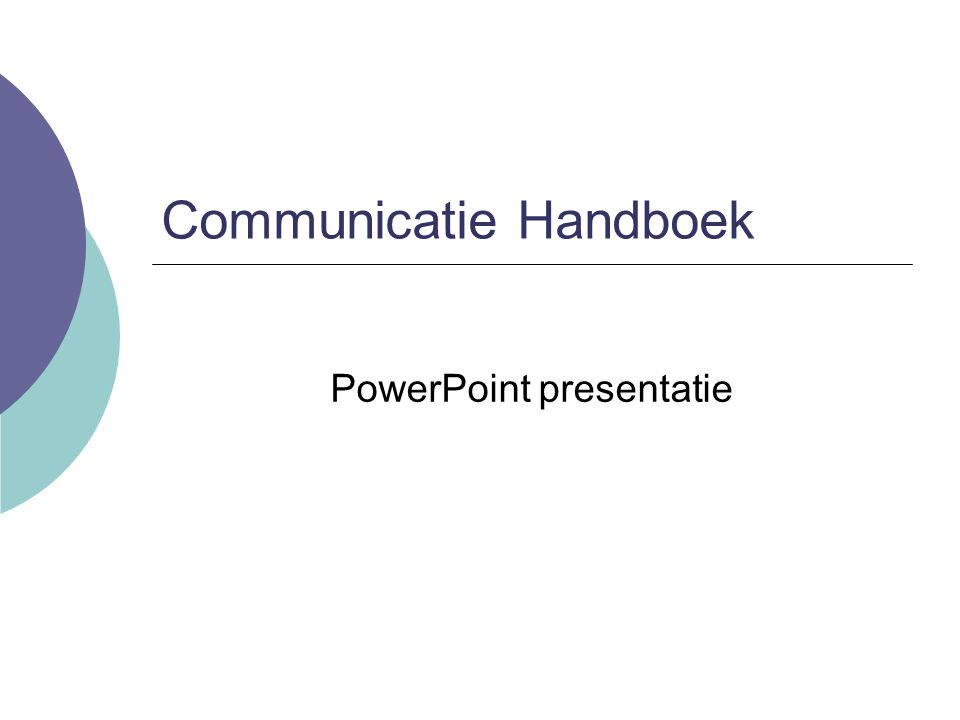 Communicatie Handboek PowerPoint presentatie