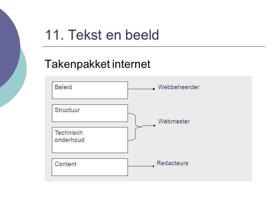 11. Tekst en beeld Takenpakket internet Beleid Technisch onderhoud Content Structuur Webbeheerder Webmaster Redacteurs