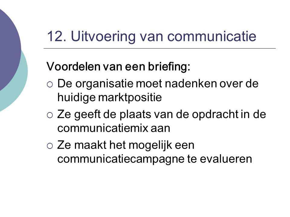 12. Uitvoering van communicatie Voordelen van een briefing:  De organisatie moet nadenken over de huidige marktpositie  Ze geeft de plaats van de op