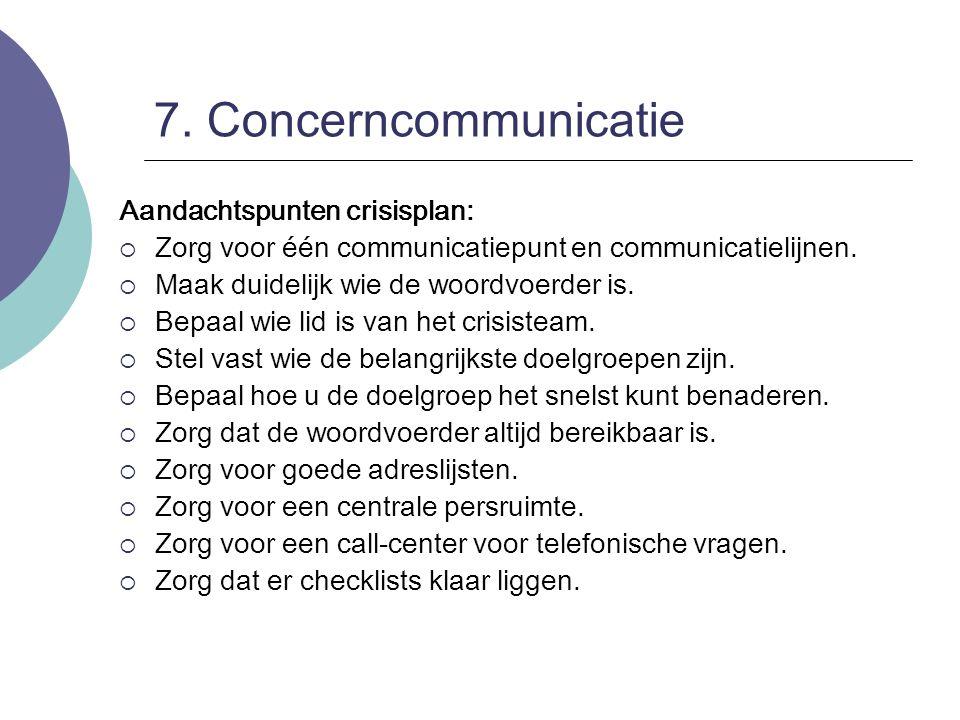7. Concerncommunicatie Aandachtspunten crisisplan:  Zorg voor één communicatiepunt en communicatielijnen.  Maak duidelijk wie de woordvoerder is. 