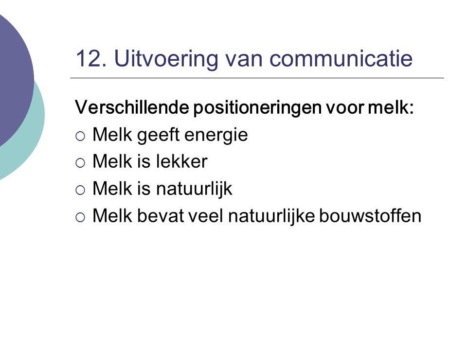 12. Uitvoering van communicatie Verschillende positioneringen voor melk:  Melk geeft energie  Melk is lekker  Melk is natuurlijk  Melk bevat veel