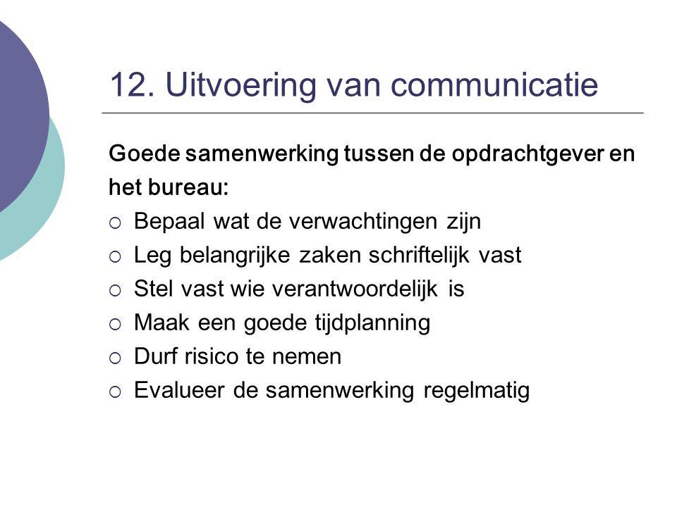 12. Uitvoering van communicatie Goede samenwerking tussen de opdrachtgever en het bureau:  Bepaal wat de verwachtingen zijn  Leg belangrijke zaken s