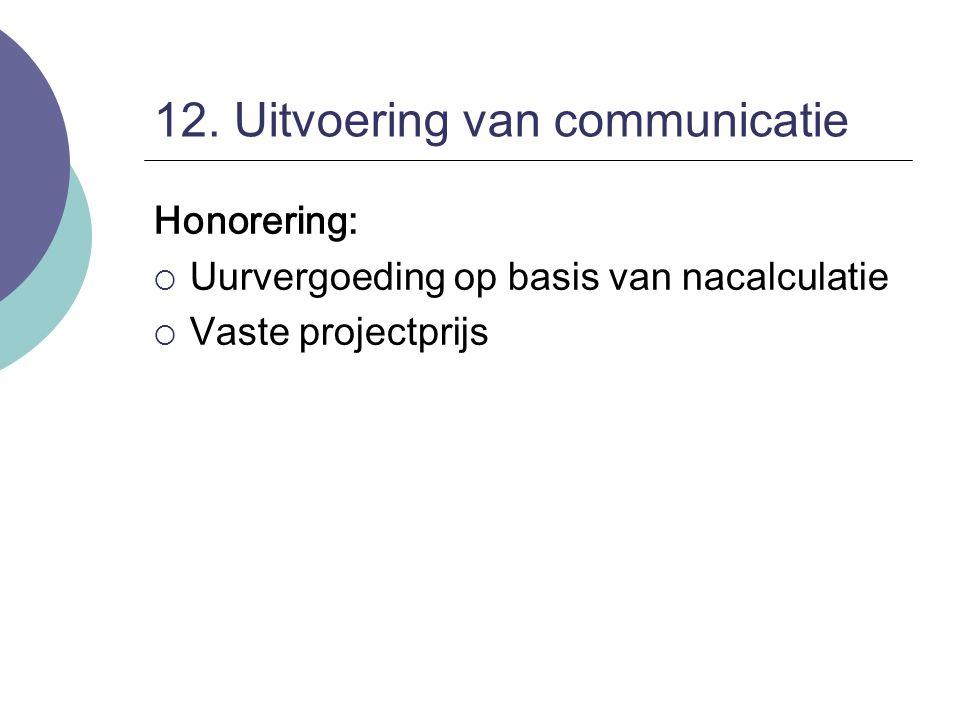12. Uitvoering van communicatie Honorering:  Uurvergoeding op basis van nacalculatie  Vaste projectprijs
