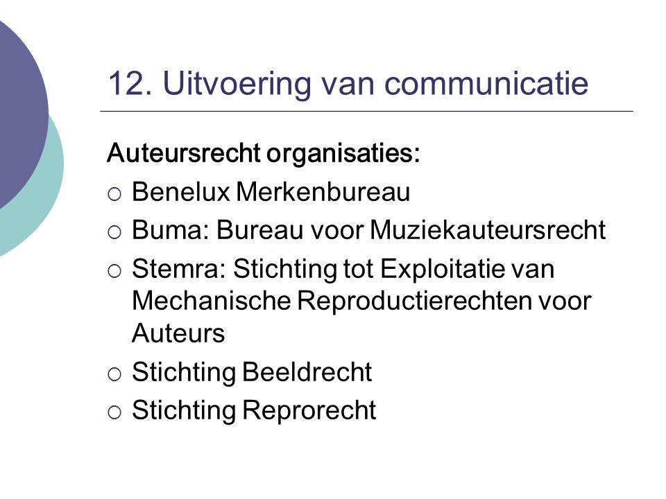 12. Uitvoering van communicatie Auteursrecht organisaties:  Benelux Merkenbureau  Buma: Bureau voor Muziekauteursrecht  Stemra: Stichting tot Explo