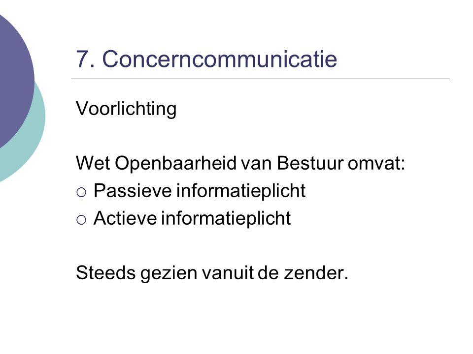 7. Concerncommunicatie Voorlichting Wet Openbaarheid van Bestuur omvat:  Passieve informatieplicht  Actieve informatieplicht Steeds gezien vanuit de