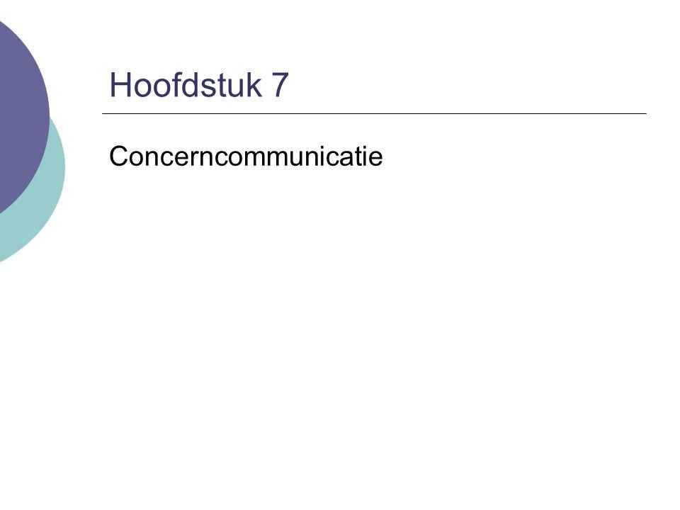 7.Concerncommunicatie Concerncommunicatie heeft vijf kerntaken: 1.