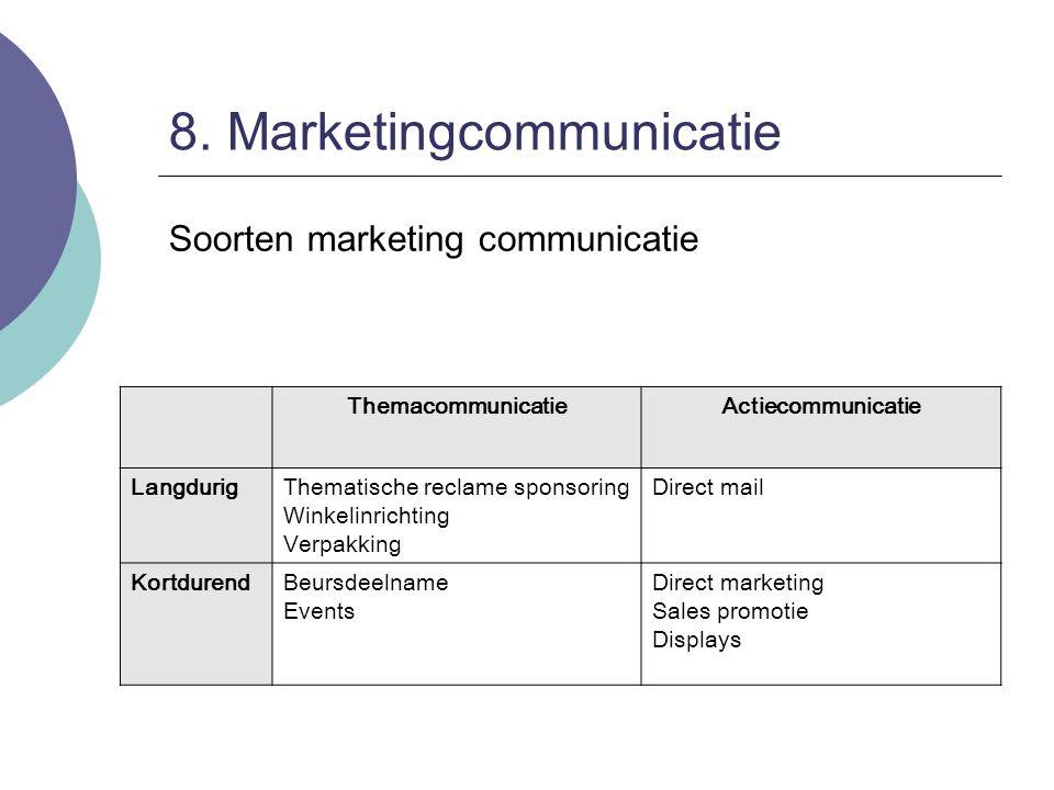 8. Marketingcommunicatie Soorten marketing communicatie ThemacommunicatieActiecommunicatie LangdurigThematische reclame sponsoring Winkelinrichting Ve