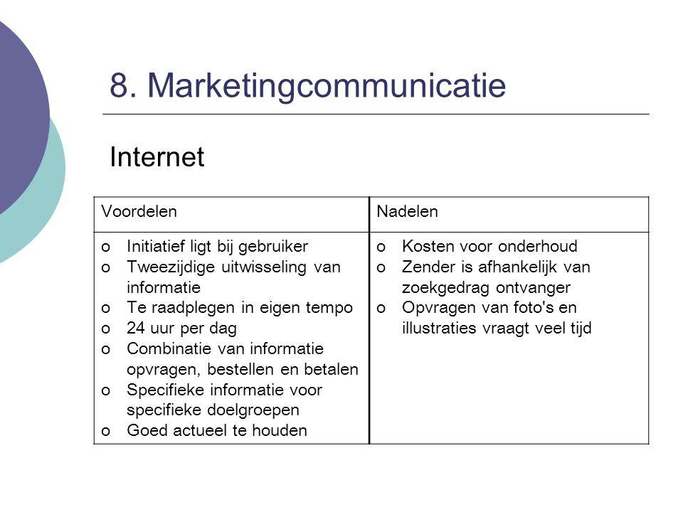 8. Marketingcommunicatie Internet VoordelenNadelen oInitiatief ligt bij gebruiker oTweezijdige uitwisseling van informatie oTe raadplegen in eigen tem