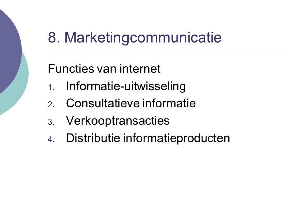 8. Marketingcommunicatie Functies van internet 1. Informatie-uitwisseling 2. Consultatieve informatie 3. Verkooptransacties 4. Distributie informatiep