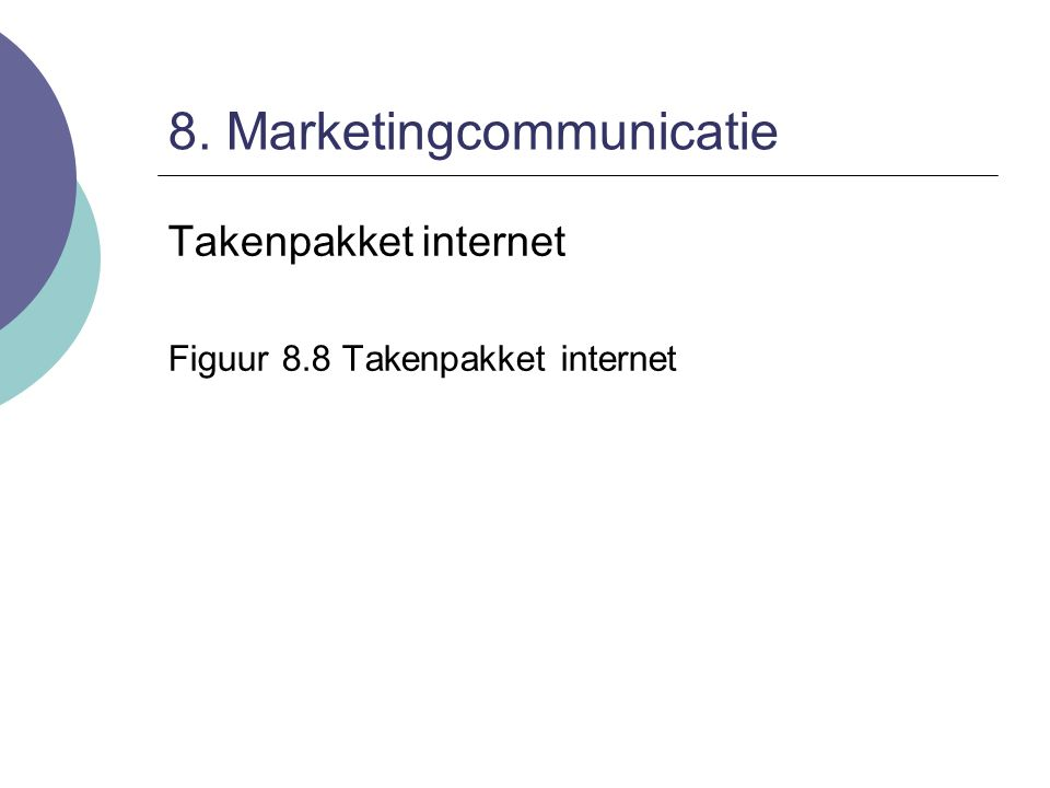 8. Marketingcommunicatie Takenpakket internet Figuur 8.8 Takenpakket internet