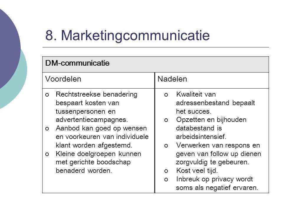 8. Marketingcommunicatie DM-communicatie VoordelenNadelen oRechtstreekse benadering bespaart kosten van tussenpersonen en advertentiecampagnes. oAanbo