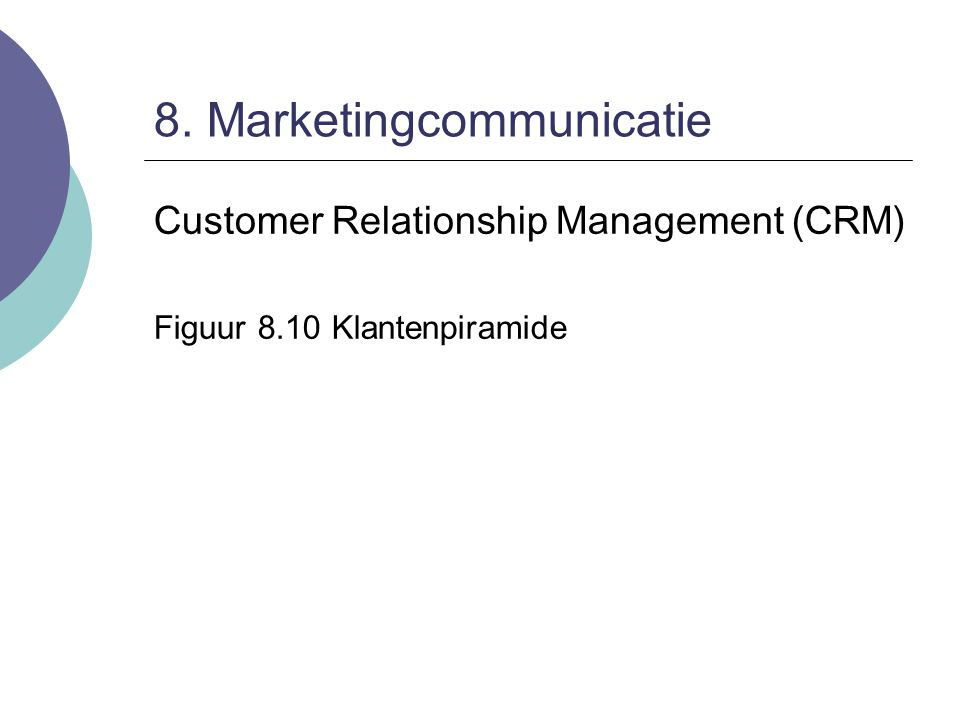 8. Marketingcommunicatie Customer Relationship Management (CRM) Figuur 8.10 Klantenpiramide
