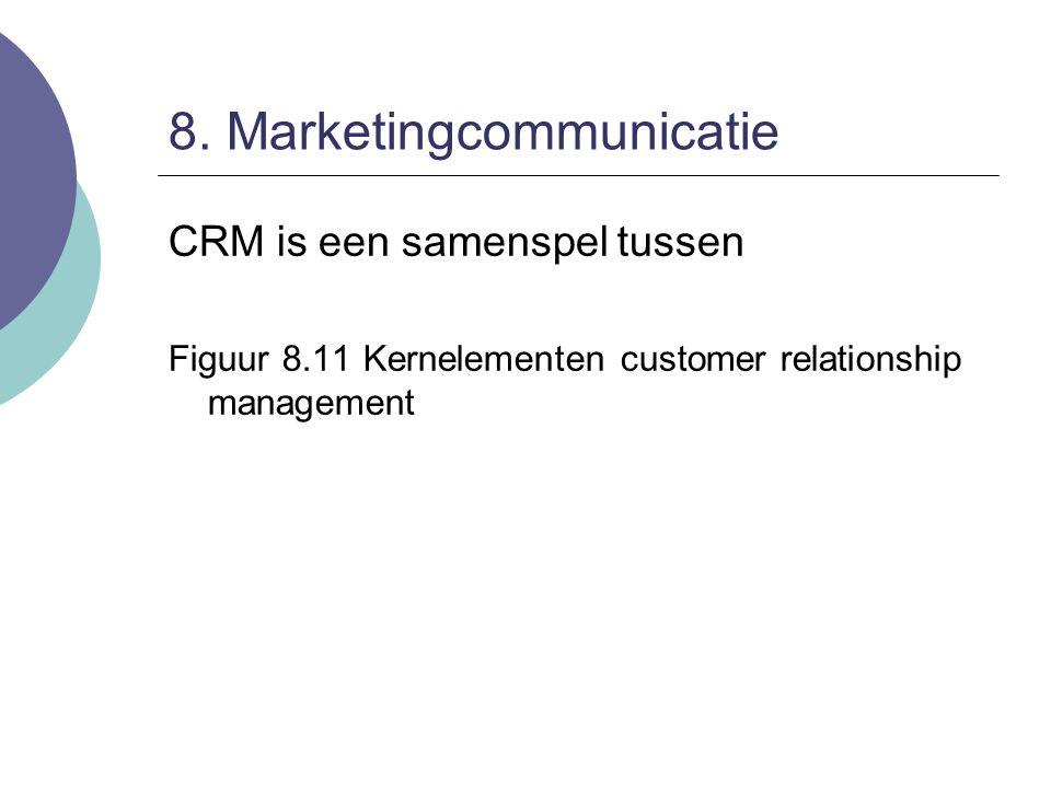 8. Marketingcommunicatie CRM is een samenspel tussen Figuur 8.11 Kernelementen customer relationship management