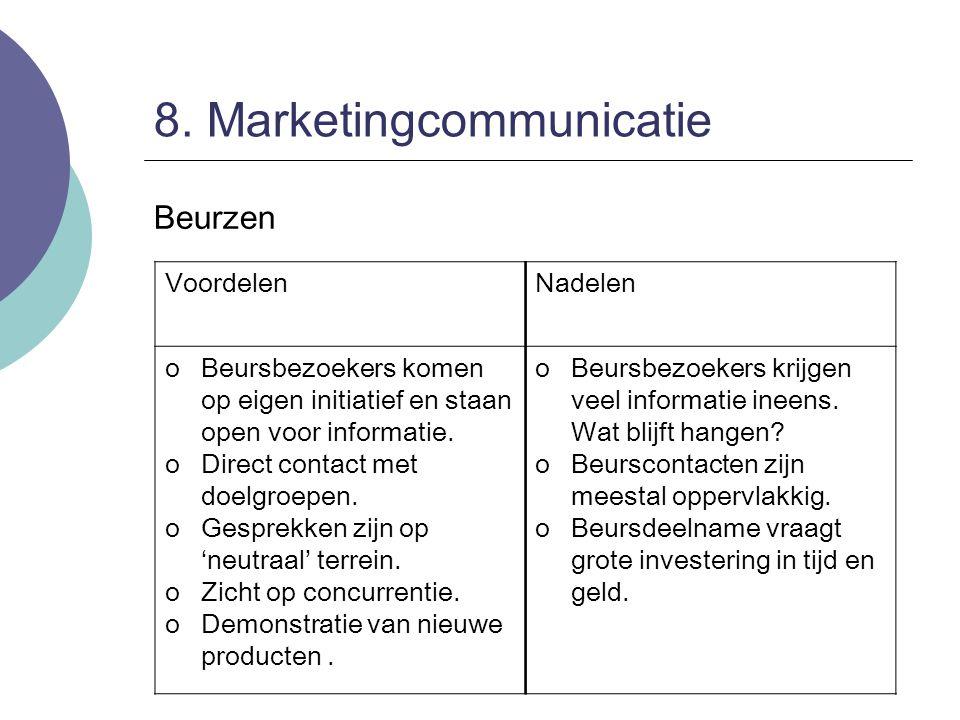 8. Marketingcommunicatie Beurzen VoordelenNadelen oBeursbezoekers komen op eigen initiatief en staan open voor informatie. oDirect contact met doelgro