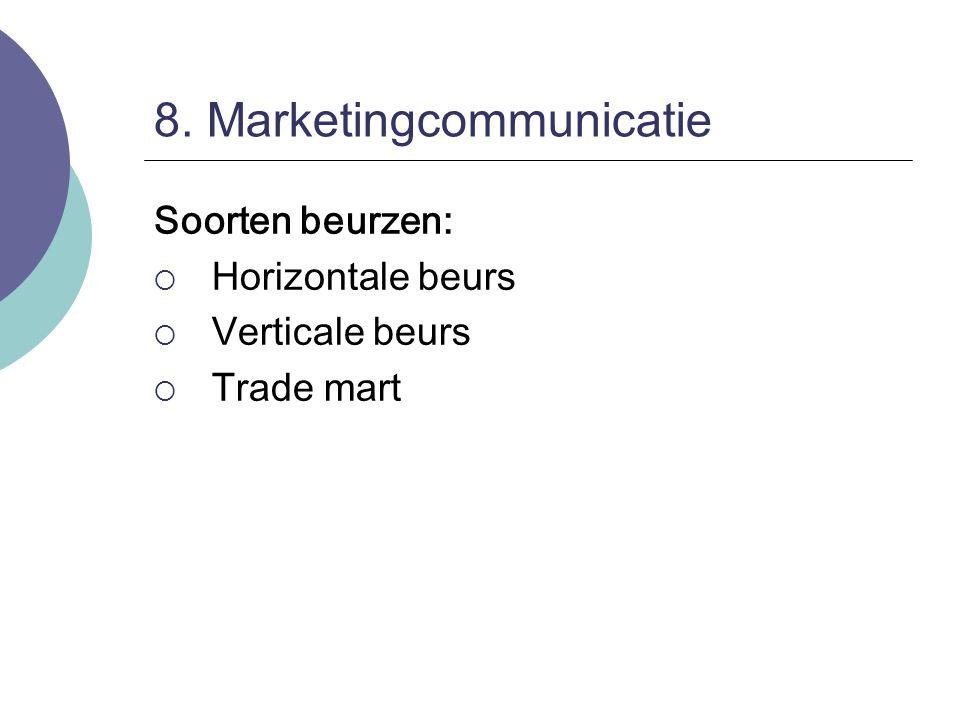 8. Marketingcommunicatie Soorten beurzen:  Horizontale beurs  Verticale beurs  Trade mart