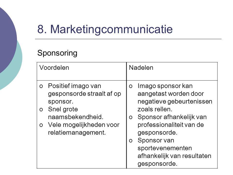 8. Marketingcommunicatie Sponsoring VoordelenNadelen oPositief imago van gesponsorde straalt af op sponsor. oSnel grote naamsbekendheid. oVele mogelij