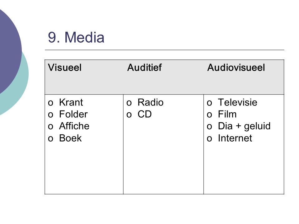 9. Media Visueel Auditief Audiovisueel oKrant oFolder oAffiche oBoek oRadio oCD oTelevisie oFilm oDia + geluid oInternet