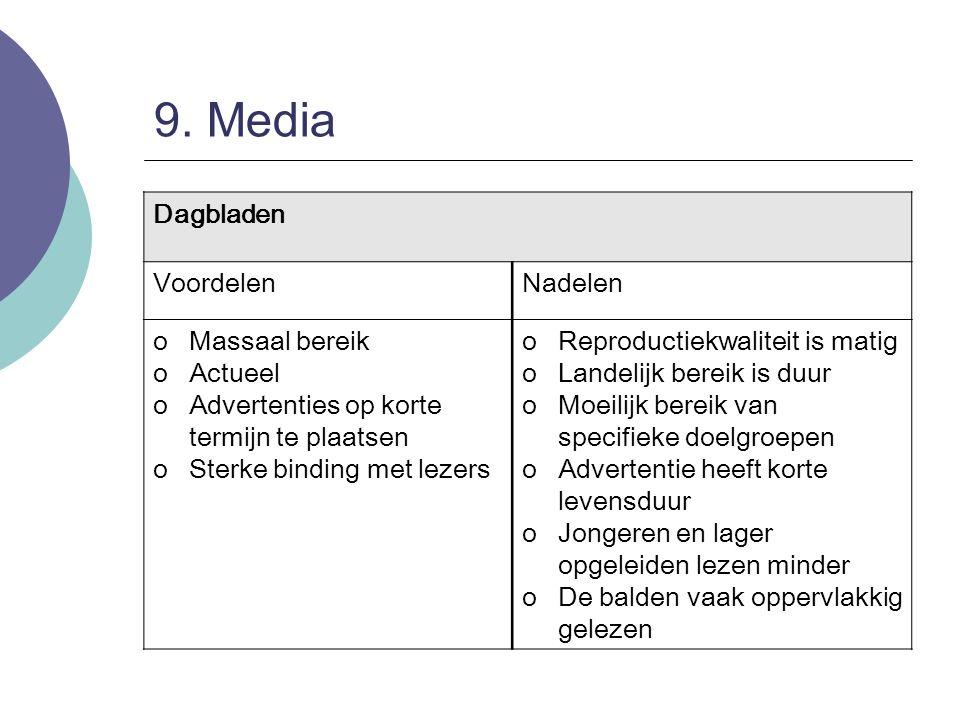 9. Media Dagbladen VoordelenNadelen oMassaal bereik oActueel oAdvertenties op korte termijn te plaatsen oSterke binding met lezers oReproductiekwalite