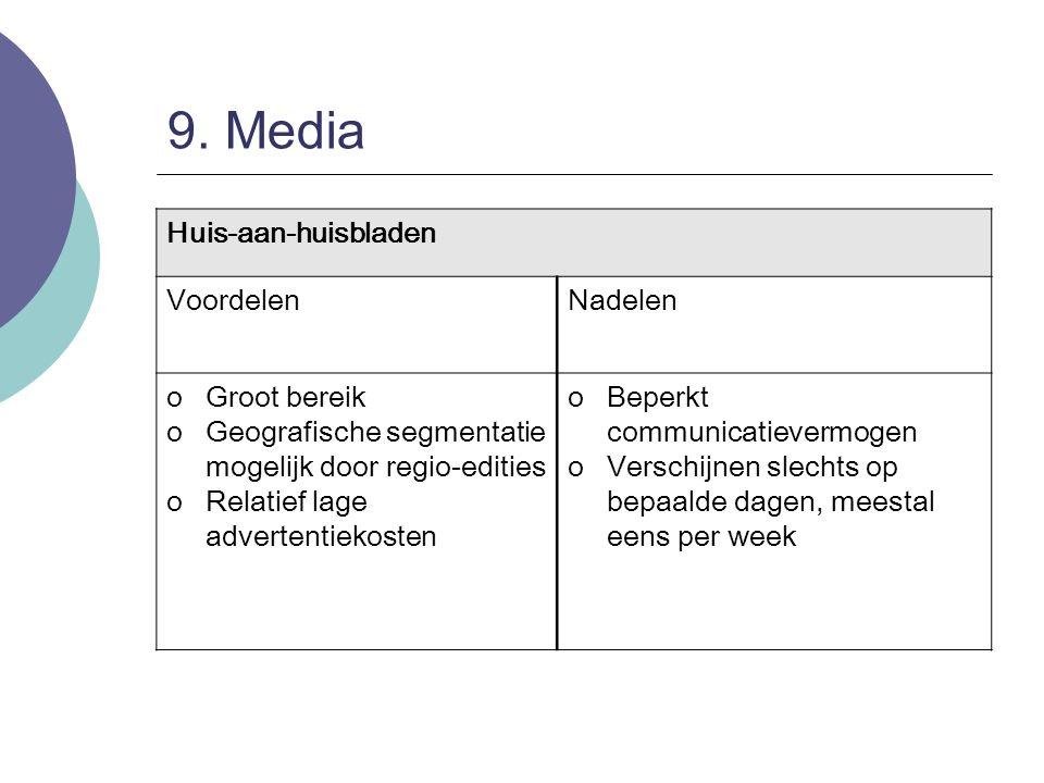 9. Media Huis-aan-huisbladen VoordelenNadelen oGroot bereik oGeografische segmentatie mogelijk door regio-edities oRelatief lage advertentiekosten oBe