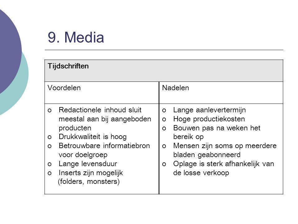 9. Media Tijdschriften VoordelenNadelen oRedactionele inhoud sluit meestal aan bij aangeboden producten oDrukkwaliteit is hoog oBetrouwbare informatie