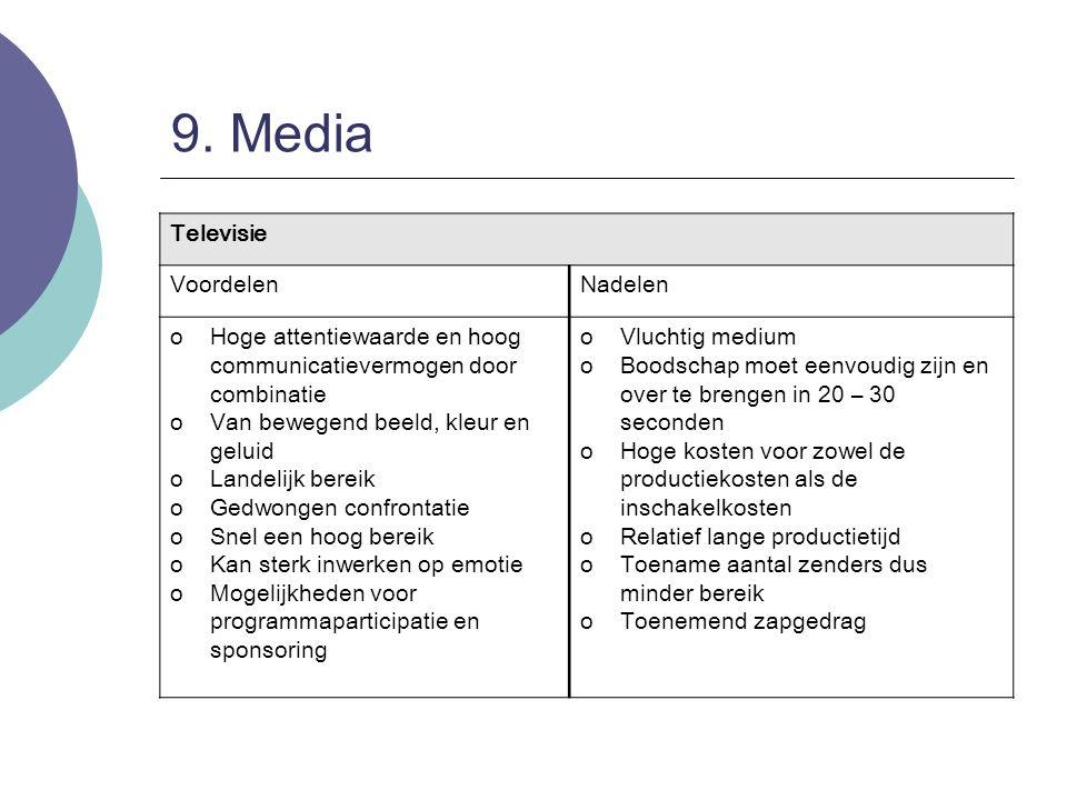 9. Media Televisie VoordelenNadelen oHoge attentiewaarde en hoog communicatievermogen door combinatie oVan bewegend beeld, kleur en geluid oLandelijk