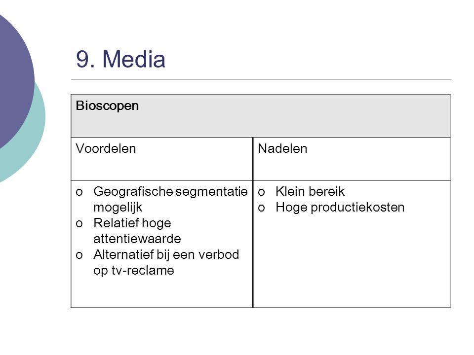 9. Media Bioscopen VoordelenNadelen oGeografische segmentatie mogelijk oRelatief hoge attentiewaarde oAlternatief bij een verbod op tv-reclame oKlein