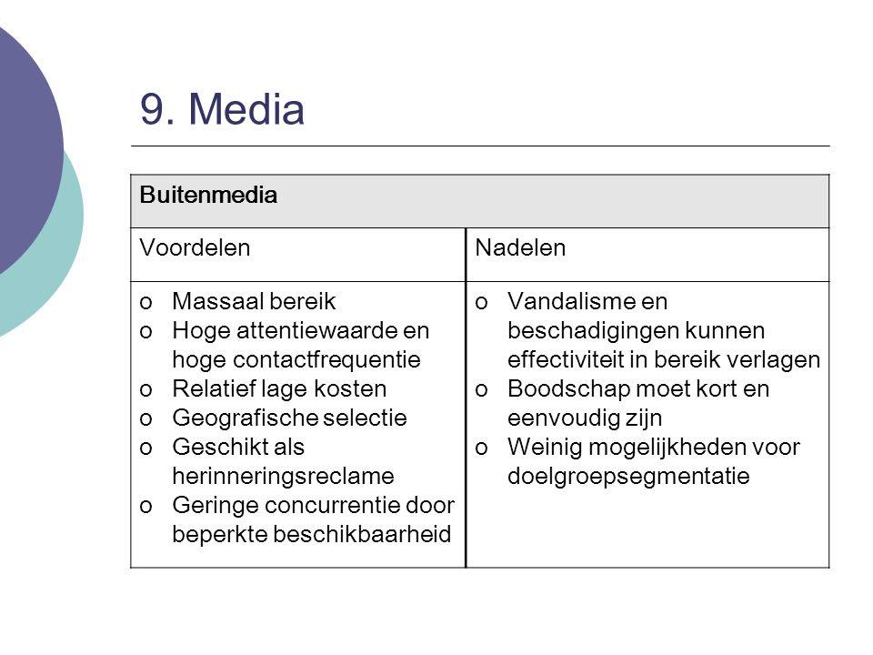 9. Media Buitenmedia VoordelenNadelen oMassaal bereik oHoge attentiewaarde en hoge contactfrequentie oRelatief lage kosten oGeografische selectie oGes
