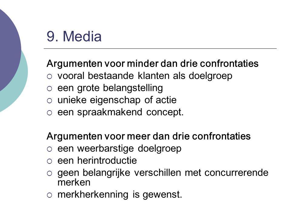 9. Media Argumenten voor minder dan drie confrontaties  vooral bestaande klanten als doelgroep  een grote belangstelling  unieke eigenschap of acti
