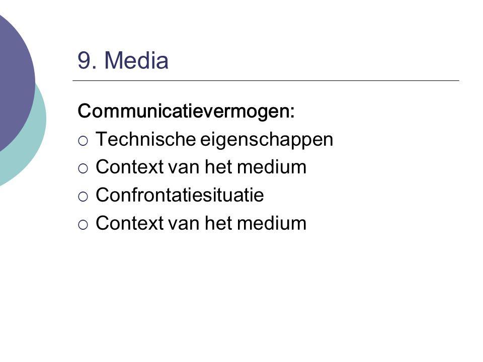 9. Media Communicatievermogen:  Technische eigenschappen  Context van het medium  Confrontatiesituatie  Context van het medium