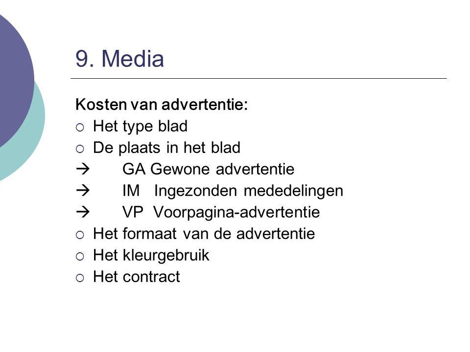 9. Media Kosten van advertentie:  Het type blad  De plaats in het blad  GA Gewone advertentie  IM Ingezonden mededelingen  VP Voorpagina-adverten