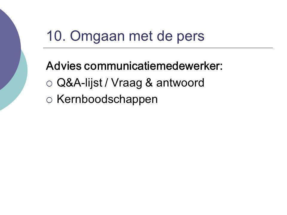 10. Omgaan met de pers Advies communicatiemedewerker:  Q&A-lijst / Vraag & antwoord  Kernboodschappen