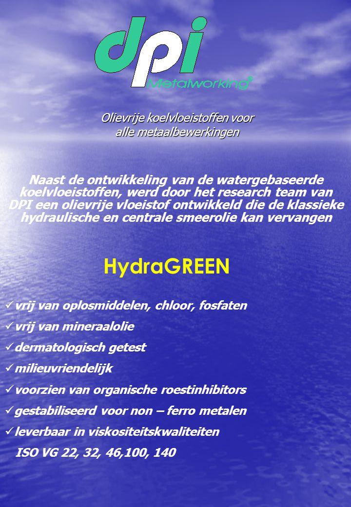 Olievrije koelvloeistoffen voor alle metaalbewerkingen Naast de ontwikkeling van de watergebaseerde koelvloeistoffen, werd door het research team van