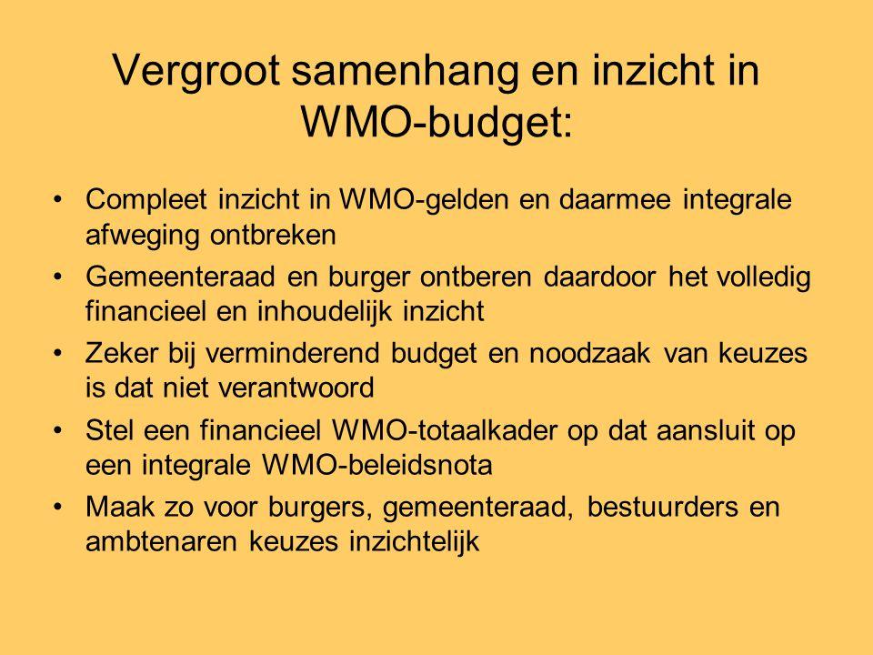 Vergroot samenhang en inzicht in WMO-budget: •Compleet inzicht in WMO-gelden en daarmee integrale afweging ontbreken •Gemeenteraad en burger ontberen