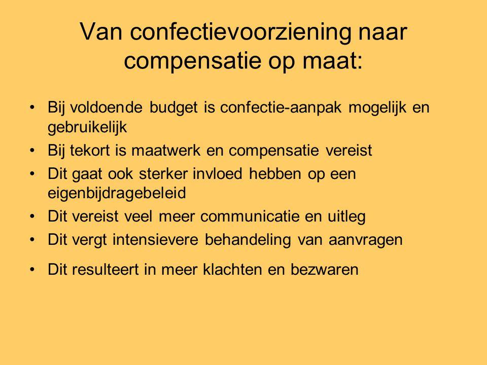 Van confectievoorziening naar compensatie op maat: •Bij voldoende budget is confectie-aanpak mogelijk en gebruikelijk •Bij tekort is maatwerk en compe