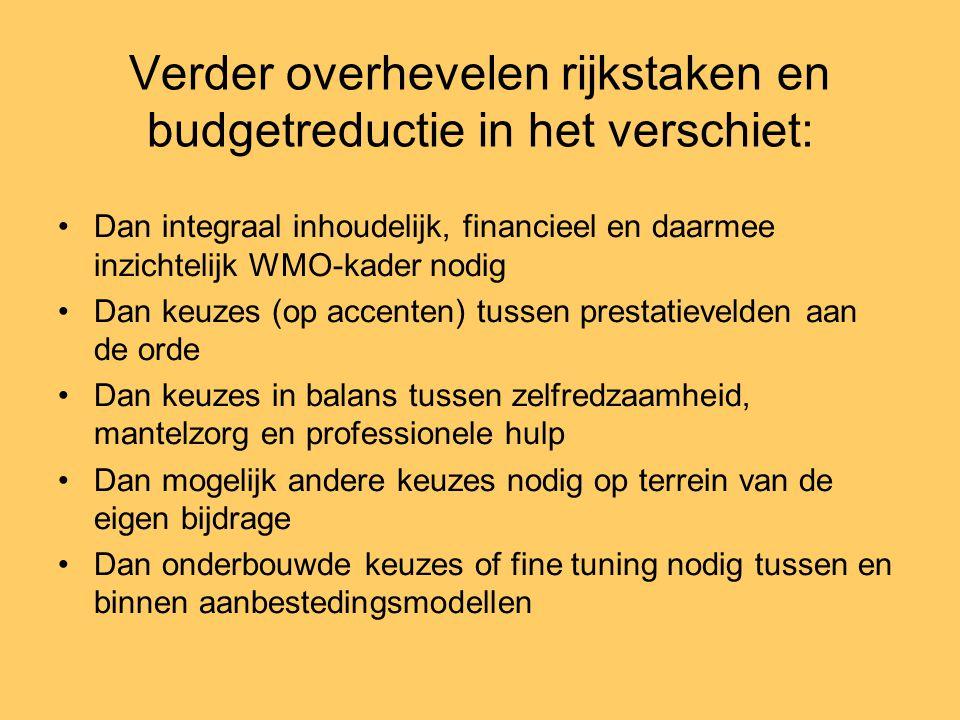 Verder overhevelen rijkstaken en budgetreductie in het verschiet: •Dan integraal inhoudelijk, financieel en daarmee inzichtelijk WMO-kader nodig •Dan