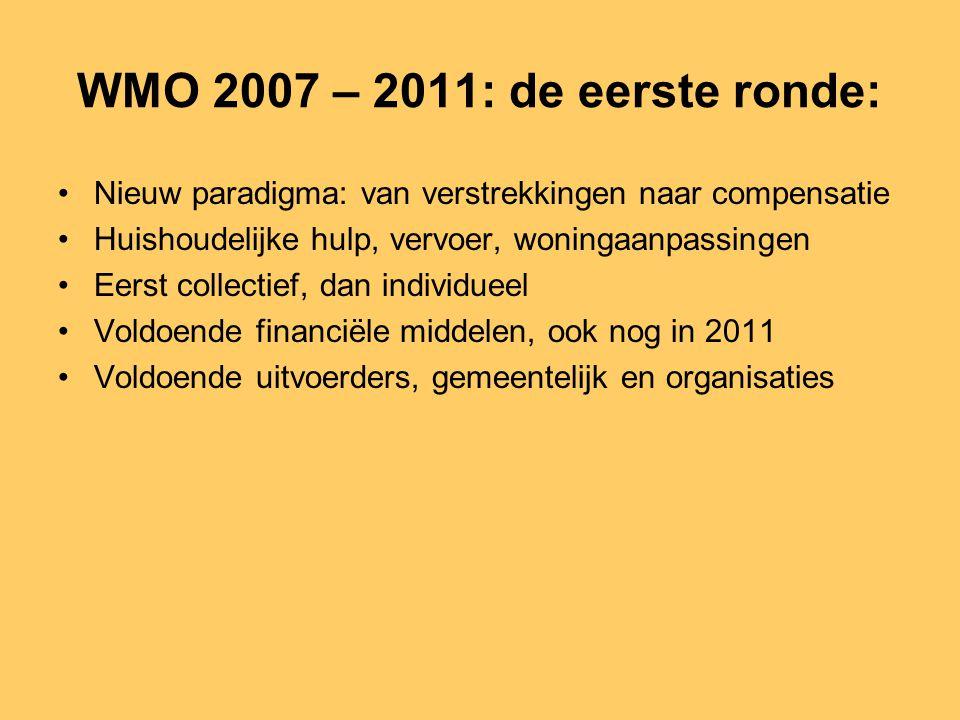 WMO 2007 – 2011: de eerste ronde: •Nieuw paradigma: van verstrekkingen naar compensatie •Huishoudelijke hulp, vervoer, woningaanpassingen •Eerst colle