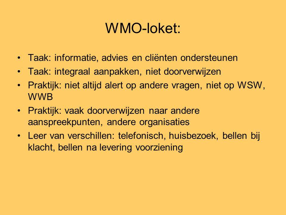 WMO-loket: •Taak: informatie, advies en cliënten ondersteunen •Taak: integraal aanpakken, niet doorverwijzen •Praktijk: niet altijd alert op andere vr