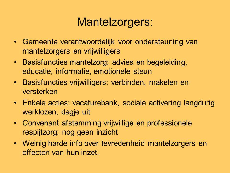 Mantelzorgers: •Gemeente verantwoordelijk voor ondersteuning van mantelzorgers en vrijwilligers •Basisfuncties mantelzorg: advies en begeleiding, educ