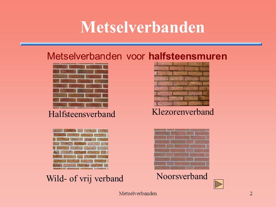 Metselverbanden13 Metselverbanden voor steensmuren Noorsverband Alle lagen bestaan uit: kop-2xstrek-kop-2xstrek enz De tweede laag begint met een drieklezoor