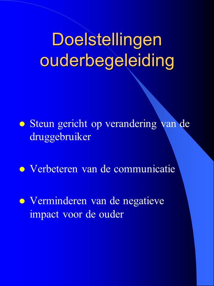 Doelstellingen ouderbegeleiding l Steun gericht op verandering van de druggebruiker l Verbeteren van de communicatie l Verminderen van de negatieve im