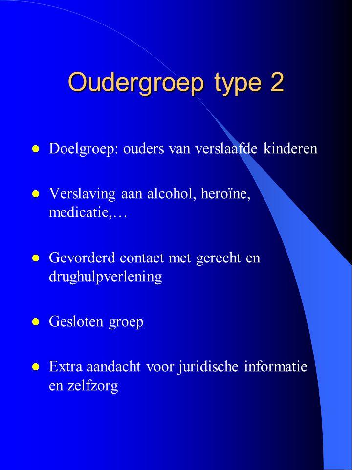 Oudergroep type 2 l Doelgroep: ouders van verslaafde kinderen l Verslaving aan alcohol, heroïne, medicatie,… l Gevorderd contact met gerecht en drughu